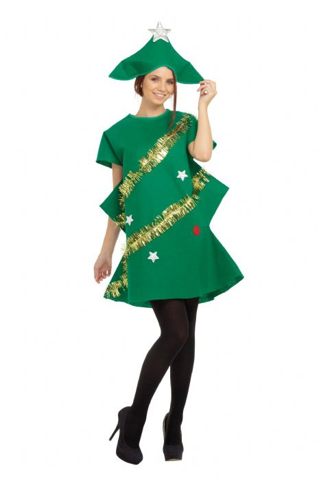 Adults Christmas Tree Costume Festive Xmas Nativity Fancy Dress Outfit